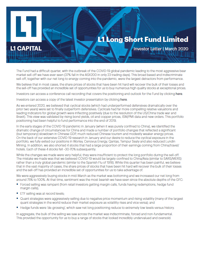 Long Short Fund Quarterly report - March 2020